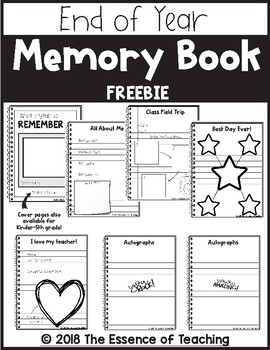 End Of Year Memory Book Freebie by The Essence of Teaching