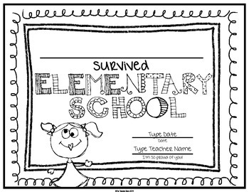 End of School Certificate (Fifth Grade) I survived..... by