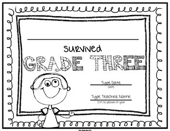 End of School Certificate (Third Grade) I survived..... by