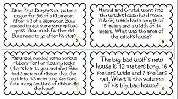 End of Year 5th Grade Math Review Task Cards: Metric
