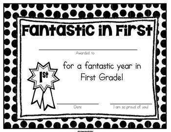 End of Year First Grade Certificates