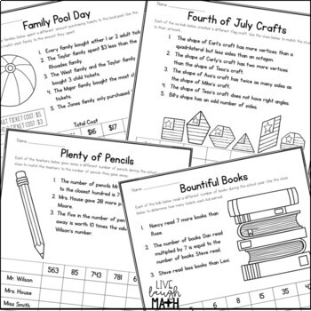 End of Year & Summer Math Logic Puzzles for Grades 3-4 by