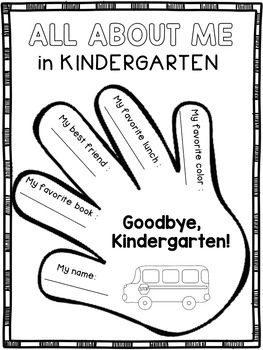 End of the Year Activities Kindergarten Memory Book by