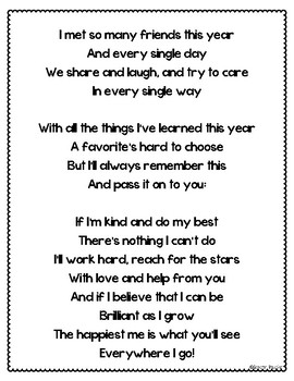 Kindergarten Graduation End of the Year Poem and Labels by