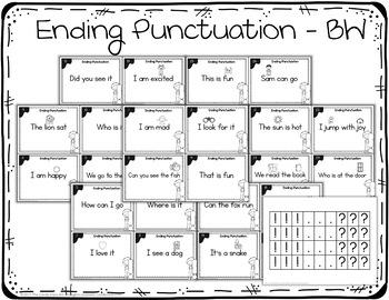 Ending Punctuation Task Cards & Posters: Kindergarten