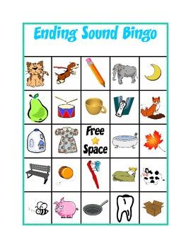 Ending Sound Bingo by Kindergarten Kreative  Teachers Pay Teachers