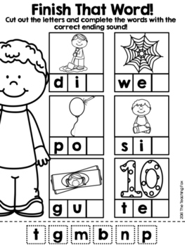 Ending Sounds Word Work with Cut and Paste by The Teaching