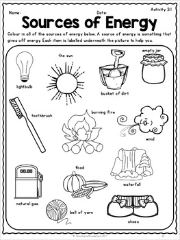 {Grade 1} Unit 3: Energy in Our Lives by