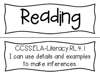 Reading I Can Statements (Fourth Grade, Common Core) by