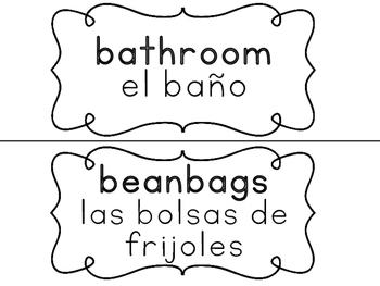 English and Spanish Classroom Labels for English Language