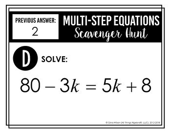 Multi-Step Equations Scavenger Hunt by All Things Algebra