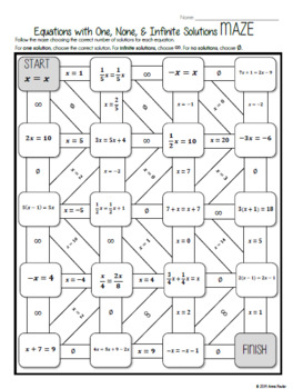 Equations with One, None, & Infinite Solutions MAZE