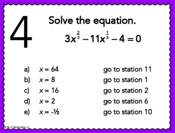 Rational Exponents Equations Stations Maze Activity by Mrs