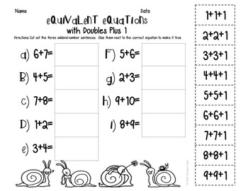 Equivalent Equations: doubles plus 1, 3 addends, making 10