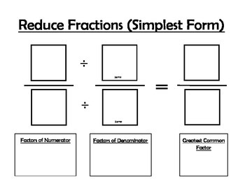 Equivalent Fractions & Reducing Fractions Math Mats by