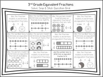 Equivalent Fractions: Solve Snip & Stick Activity: TEKS 3