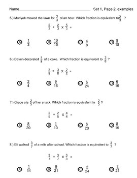 Equivalent Fractions Word Problems Common Core by