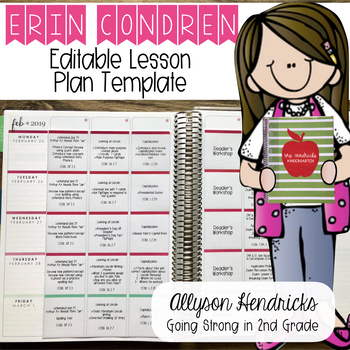 Erin Condren Lesson Planner Template Editable PDF MS Word Mac Pages Versions