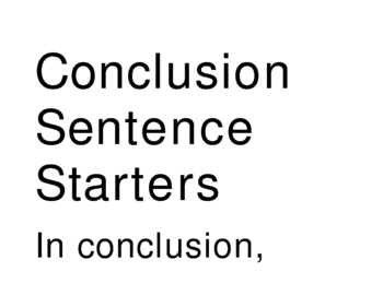 Essay Writing Tips--Conclusion Sentence Starters by