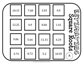 Estimating Square Roots Number Sort, Matching Game 8.NS.A