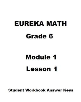 Eureka Math Grade 6 Module 1 Lesson 1 Student Workbook
