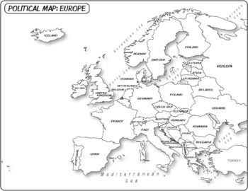 Europe Political Map (Labeled) **Coloring Book Series** by