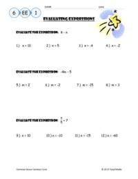Evaluating Algebraic Expressions Worksheet by April ...