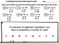Evaluating Algebraic Expressions Worksheet: Math Message ...