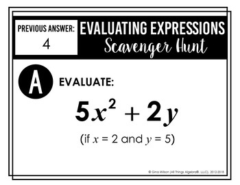 Evaluating Expressions Notes and Scavenger Hunt by All