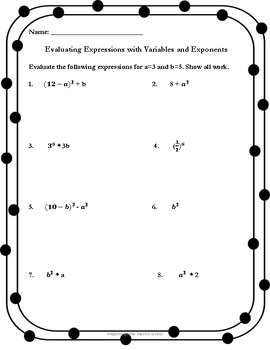 Evaluating Expressions with Variables and Exponents