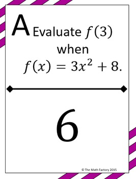 Evaluating Functions Scavenger Hunt Activity by Teach Me I