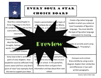 Every Soul A Star Choice Board Novel Study Activities Menu