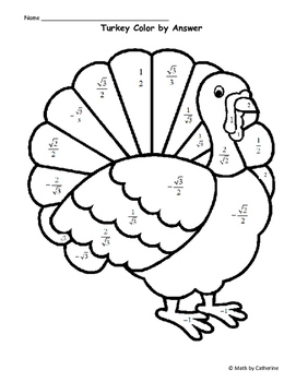 Thanksgiving Math: Turkey Color by Answer Exact Trig
