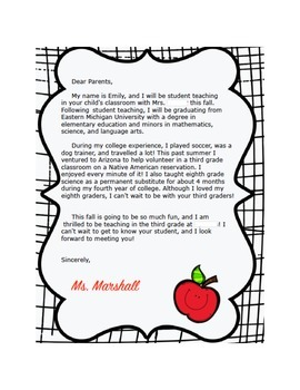 Example Letter to Parents from Student Teacher by