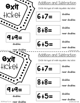 Exit Tickets Addition and Subtraction First Grade by