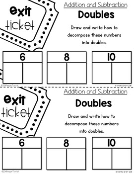 Exit Tickets Addition and Subtraction Kindergarten by