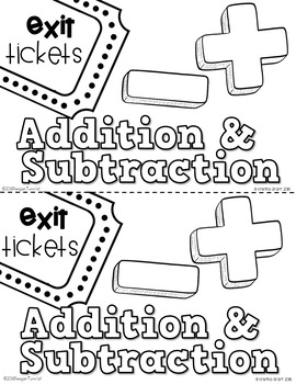 Exit Tickets Addition and Subtraction for Second Grade by