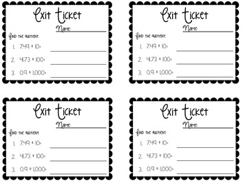 Decimals Exit Tickets {Exit Slips for Quick Assessments