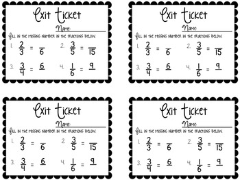 Fraction Exit Tickets {Exit Slips for Quick Assessments
