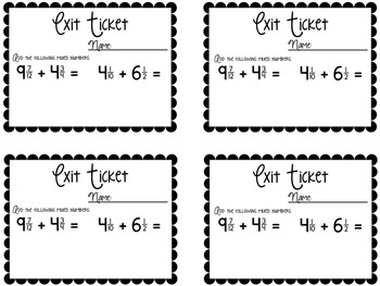 Fraction Computation Exit Tickets {Exit Slips for Quick