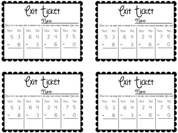 Subtraction Exit Tickets {Exit Slips for Quick Assessments