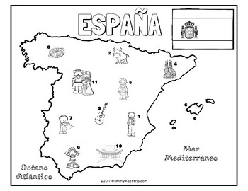 Explore Spain: A Country Coloring Activity by MommyMaestra