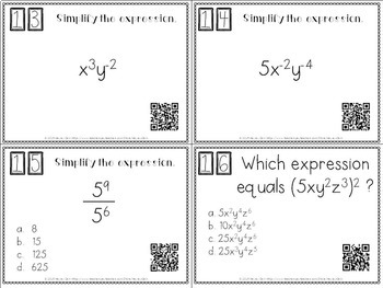 Exponent Rules Task Cards with QR Codes by Hayley Cain