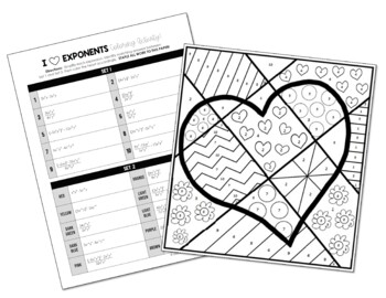 I Heart Exponents Coloring Worksheet Answers Sketch