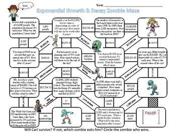 Exponential Growth & Decay Zombie Maze by Thinkingnumbers