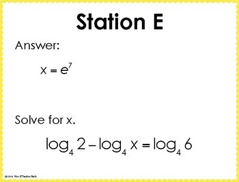 Exponential and Logarithmic Equations Scavenger Hunt by