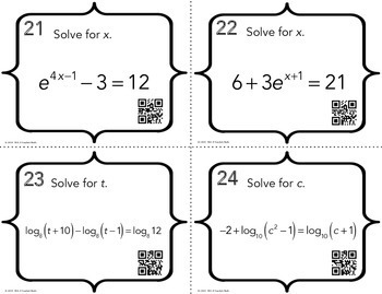 Exponential and Logarithmic Equations Task Cards by Mrs E