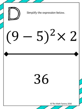Exponents Scavenger Hunt Activity Middle School by The