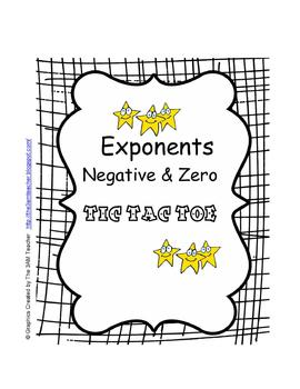 Exponents Negative and Zero Tic Tac Toe Activity by Judith