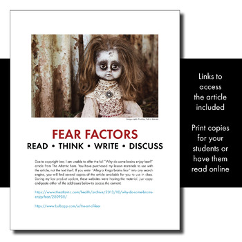 Expository, Non-Fiction Lesson on Modern Issues: Fear